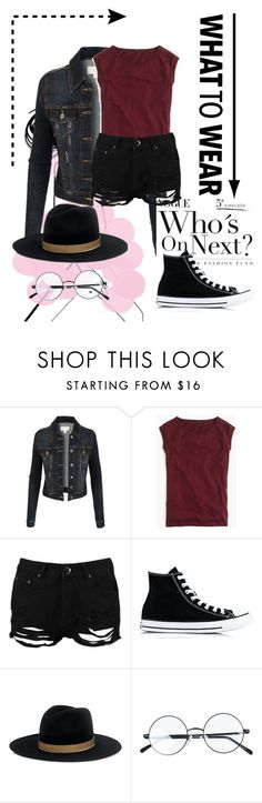 """""""Sem título #227"""" by bear-pretty ❤ liked on Polyvore featuring LE3NO, J.Crew, Boohoo, Converse and Janessa Leone"""