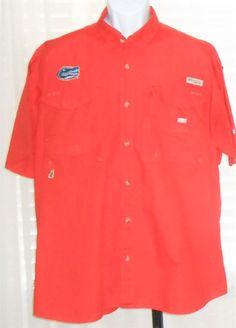 Columbia Performance Fishing Gear Florida Gators Orange Button Front Shirt  L #Columbia #ButtonFront
