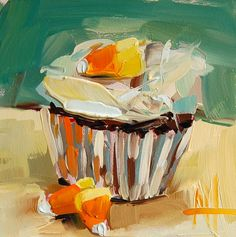 Candy Corn Cupcake original Halloween still life oil painting by Angela Moulton 4 x 4 inch on panel pre-order by prattcreekart on Etsy Recipe Book Covers, Candy Corn Cupcakes, Cupcake Art, Still Life Oil Painting, Palette Knife Painting, Impressionist Art, Art Club, Kitchen Art, Painting Inspiration