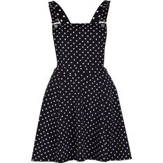 River Island Navy heart print pinafore dress ($15) ❤ liked on Polyvore featuring dresses, dungarees, reversible dress, pinafore dress, dungaree dress, navy skater skirt and heart dress