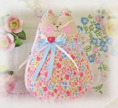 Valentine Cat  Doll 6 inch Free Standing Kitty by CharlotteStyle