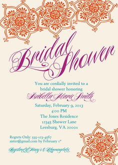 Bollywood or Middle Eastern Inspired Baby Shower Invitation - PRINTABLE