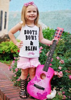 Boots, Bows, and Bling ruffled short set for girls from The Hair Bow Company! Perfect for country girls and country girls at heart!