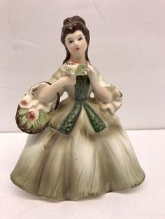 Vintage Lefton 1684B Japan Porcelain Lady Figural Planter Vase Brunette, Mint