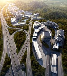 Image 1 of 16 from gallery of AATU Wins Competition to Design 'From Field to Kitchen' Industrial Park. Courtesy of AATU Parque Industrial, Industrial Park, Industrial Architecture, Futuristic Architecture, Kitchen Industrial, Masterplan Architecture, New Urbanism, Facade Architecture, Urban Design Concept