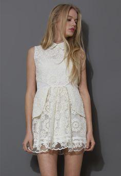 Sleeveless Snowflake Embroidered Peplum Dress