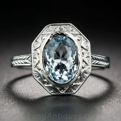 Vintage Bezel-Set Aquamarine Ring - 30-1-7089 - Lang Antiques