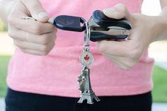 Retirer ou ajouter une clef de voiture facilement d'un porte-clef