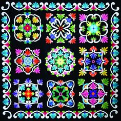 """Fiesta de Talavera Block of the Month """"Black Background"""" - Gail Kesslers Ladyfingers Sewing Studio - Fabric, Notions, Needles, Patterns and Sewing Classes Quilt Block Patterns, Applique Patterns, Applique Quilts, Quilt Blocks, Applique Ideas, Hand Applique, Applique Designs, Applique Wall Hanging, Hawaiian Quilts"""