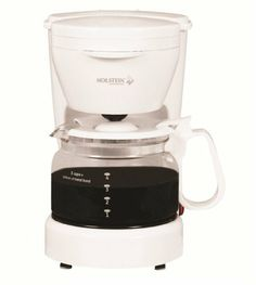 Holstein Housewares H-09001 5-Cup Coffee Maker by Holstein Housewares. $23.73. The coffee maker is able to brew up to 5 cups of fresh, hot, and great tasting coffee. The on/off switch with indicator light allows for easy functionality. The removible filter basket lifts out fast for quick and easy cleaning and filling. Product includes a cord storage compartment on the back.