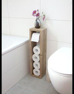 Perfect **Toilettenpapierhalter, Toilettenpapierständer, Klopapierhalter, H/B/T 65/16/13cm, im angesagten shabby chic. Handgearbeitet aus recycelten Vollholzdielen. Ohne Box für Klobürste. Diese .. #shabbychichomesoffice
