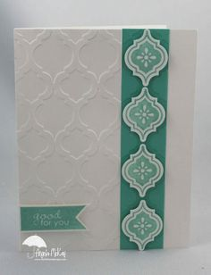 handmade card ... clean and simple design ... Mosaic embossing folder, stamps and punch ... luv how it all comes together when there's an ensemble of products designed to go together ... Stampin' Up!
