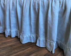natural linen bedskirt with ruffle hem bed by CustomLinensHandmade