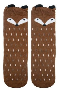 Amazon.com: LITTONE Baby Kids Cotton Fox Knee High Long Socks 2 Pairs M( 4-6 Years) Fox-2pairs: Clothing