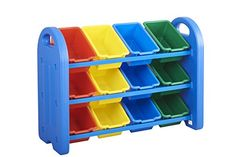 Organize and decorate your playroom or class room with ECR multi-tier toy storage organizer with toy storage bins in colors red, blue, yellow and green.