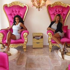 painted woman by kameco in Beverly Hills, giant pink and gold chairs, gold plated tools