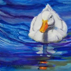 """Daily Paintworks - """"White duck in blue water"""" - Original Fine Art for Sale - © Diane Hutchinson"""