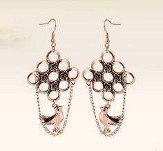 $3.99 Vintage Silver Tone Flower Chain& Bird Dangle Earrings at Online Cheap Vintage Jewelry Store Gofavor
