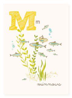 M is for Minnows  5x7 art print  nursery art by SeaUrchinStudio, $4.50