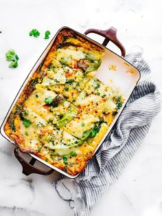 Made with layers of vegetables, fresh artisan cheese, and hearty eggs, this Hatch Green Chile Breakfast Egg Casserole is the perfect make-ahead recipe for a wholesome protein rich meal. Serve it for breakfast, brunch, or an easy dinner! Low Carb, Dairy Free, and Grain Free Options. Pastas Recipes, Egg Recipes, Brunch Recipes, Breakfast Recipes, Cooking Recipes, Free Recipes, Breakfast Ideas, Diet Breakfast, Brunch Ideas