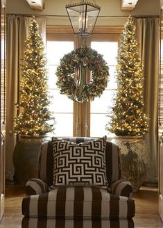 I love this idea.   I am thinking this would be a simple way to have a tree that would not take up tons of space.