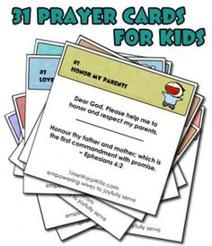 31 Prayer Cards for Kids – Free Printable www.247moms.com #247moms