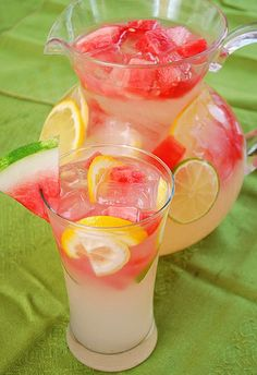 Watermelon Lemonade. Sounds refreshing! Limeade is also good with watermelon chunks..