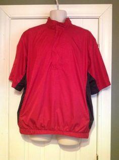 Walter-Hagen-Wind-Breaker-Black-Red-Golf-Pullover-Jacket-Mens-Size-Medium-M
