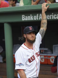 CrowdCam Hot Shot: Boston Red Sox catcher Jarrod Saltalamacchia in the dugout prior to the start of game two of the American League divisional series playoff baseball game against the Tampa Bay Rays at Fenway Park. Photo by Bob DeChiara