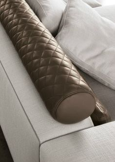 Minotti 2014 Leonard sofa with eco-leather piping, Claire Relax cushion in leather with diamond-pattern stitching