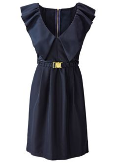 Vestido com babados e cinto azul-escuro encomendar agora na loja on-line bonprix.de  R$ 59,90 a partir de Vestido acinturado fascinante com babados amplos ...
