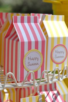 Mini milk carton favour boxes~also perfect for Pink Lemonade Party Treats! Mini Milk, Milk Box, Pink Lemonade Party, Carton Box, Happy Summer, Favor Boxes, Gift Boxes, Gift Packaging, Party Favors
