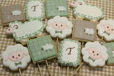 Sage & Tan Baby Lamb Christening Cookies