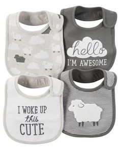 With sweet prints and slogans, these essential bibs will keep baby clean, cute and dry. Take them straight to the washer for easy clean up!