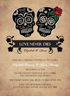 Day Of The Dead Skulls (Set) Halloween Wedding Invitation by PurpleTrail.com