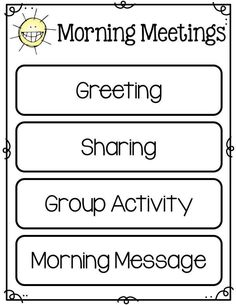 Morning meetings are a great, positive way to start out your day. Grab this freebie for your morning meeting time. Morning Meeting Kindergarten, Morning Meeting Activities, Kindergarten Classroom, Morning Meeting First Grade, Class Meetings, Morning Meetings, Morning Work, Morning Start, Beginning Of The School Year