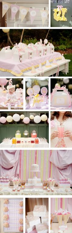 Love this pink & yellow first birthday party set up from Amy Atlas Design's blog.