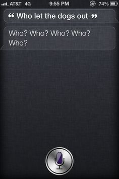"Ask ,"" who let the dogs out"" to Siri and see what you get!!"