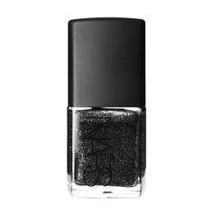 NARS Night Breed Nail Polish | Black with silver glitter.