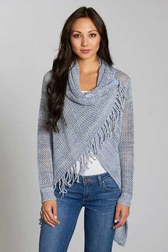 Love Stitch Loose Knit Fringed Shawl Sweater with Buttons in Chambray