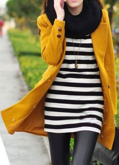BW stripes under something colorful (jacket) photograph awesomely! I have a chunky black scarf like this if you want to use that... then wear leggings like this gal. Love.
