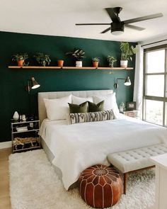 Lito Almond Cream Queen headboard 22 Inspiring design and decoration ideas for small bedrooms modern and simple bedroom design ideas 732 beautiful bedroom decor ideas for c. Green Bedroom Walls, Green Master Bedroom, Green And White Bedroom, Dark Green Walls, Green Bedroom Decor, Dark Teal Bedroom, Green Painted Walls, Accent Wall Bedroom, Emerald Bedroom