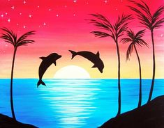 Dolphin Delight- Muse Paintbar - Acrylic and More Painting Painting easy Painting ideas Painting water Painting tutorials Painting landscape Painting abstract Watercolor Painting Simple Canvas Paintings, Oil Pastel Paintings, Oil Pastel Art, Oil Pastel Drawings, Small Canvas Art, Diy Canvas Art, Acrylic Painting Canvas, Sunset Paintings, Sunset Painting Easy