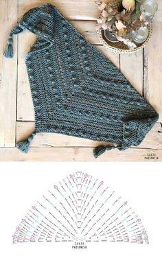 Crochet Diagram, Crochet Chart, Crochet Motif, Crochet Lace, Crochet Stitches, Crochet Patterns, Free Crochet, Crochet Shawls And Wraps, Crochet Poncho