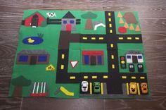 Manualidades en fieltro para niños, circuito y parking coches