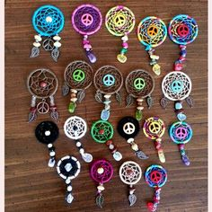 Mini dream catcher pendants , dream catcher , diy , jewelry , peace sign ,  Purchase on Facebook: Summer Serenity 13 Los Dreamcatchers, Dream Catcher Mobile, Dream Catchers, Dream Catcher Mandala, Diy And Crafts, Arts And Crafts, Crochet Dreamcatcher, Magical Jewelry, Indian Crafts