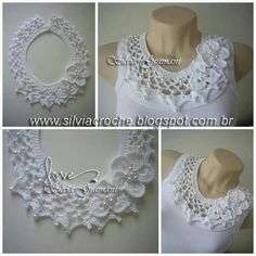 Silvia Gramani crochet lace trim for blouses shirts Justyna Golebiowska na Stylowi.Free crochet chandelier necklace pattern with video tutorial from bhooked by britanny featured in recent sova enterprises com newsletter – Artofit collari e colletti Col Crochet, Crochet Diy, Crochet Motifs, Crochet Collar, Crochet Blouse, Crochet Scarves, Irish Crochet, Crochet Shawl, Crochet Clothes
