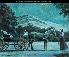 Joseph Smith Brings the Gold Plates to the Carriage, by Robert T. Barrett