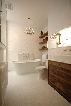 bathroom - wood & white