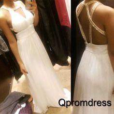 Beautiful halter prom dress, ball gown, white chiffon long sequins prom dress for teens #coniefox #2016prom